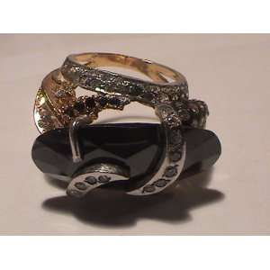 22k Gold Plated Pure Silver Ring with CZ and Balck & White