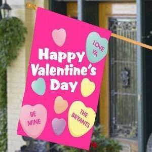 Personalized Valentines Day House Flag, Candy Hearts