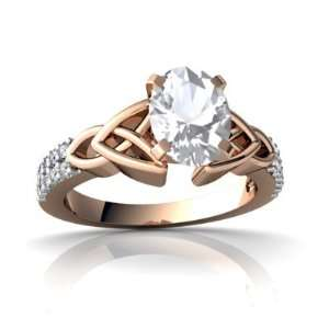 14k Rose Gold Oval Genuine White Topaz Engagement Ring