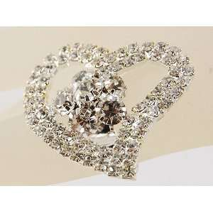 Love Statement Heart Shape Flower Rhinestone Trend Ring Jewelry