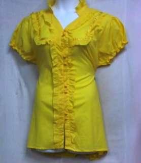 Women Clothing Cotton Blouse Shirt M L XL 1X 2X 3X White Yellow Pink