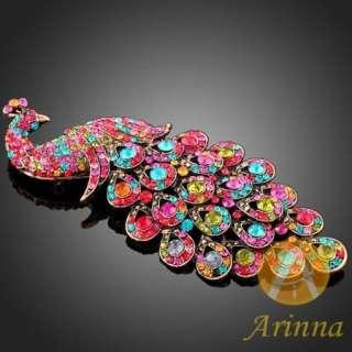 ARINNA alluring peacock Brooch Pin Swarovski Crystals