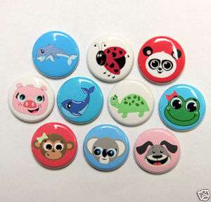 10 CUTE ANIMAL Buttons Pins Badges 1 Animals