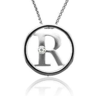 Sterling Silver Alphabet Initial Letter R Diamond Pendant Necklace (HI