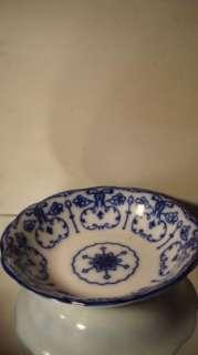 Antique Flow Blue Plate Conway Semi Porcelain England~