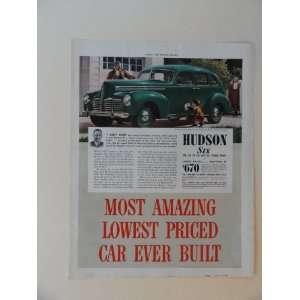 1940 Hudson six touring sedan,$763. Vintage 40s full page