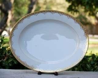 Antique T V Limoges France Large Oval Turkey Platter Gold Gilt Floral