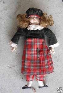 Porcelain Danbury Mint Brunette Girl Doll w Plaid Dress
