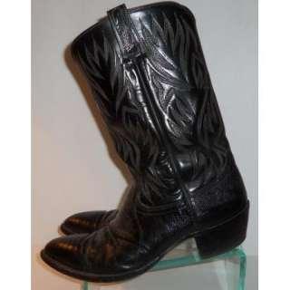 Mens Nice Dan Post Black Reptile Cowboy Western Boots Size 13 D