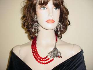 Heidi Daus Stamped Crystal Red Necklace& Earring Set