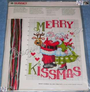 Sunset MERRY KISSMAS Mr. & Mrs. Claus,Santa Counted Cross Stitch