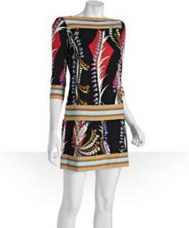 Ali Ro black retro print jersey boat neck dress