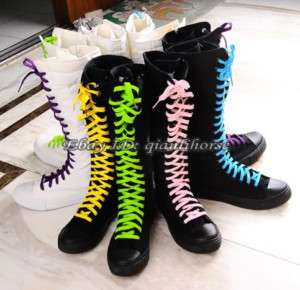 PUNK Gothic Black White Canvas boots sneakers knee high with 5 Color
