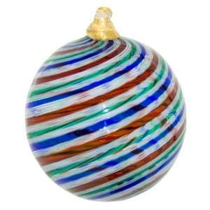 Murano Glass Ribbon Blown Glass Ornament Red/Blue/Green/White