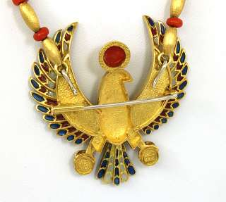 BREATHTAKING 18K GOLD, RED CORAL & FINE ENAMEL LADIES EAGLE NECKLACE