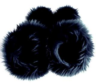 Solid Black Faux Fur Boots   Fluffy Fuzzy Boots