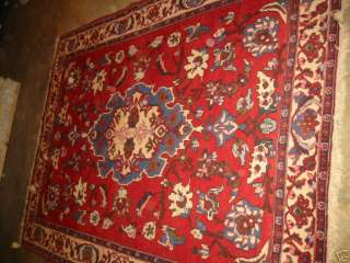 Antique Rug Persian Esfahan Hand Knotted Wool 5 3x6 9