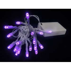 com Set of 20 Battery Operated Purple LED Wide Angle Christmas Lights
