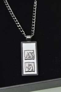 NEW ARMANI EXCHANGE Mens Logo A/X 91 Dog TAG Pendant Necklace NWT
