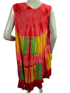 Fashion Hippie Boho Viscose Tie Dye Print Red Sleeveless Long Dress