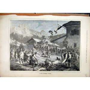 Swis Mountain Festival 1877 Party Street Scene Print