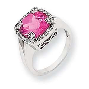 14k White Gold Created Pink Sapphire and Diamond Ring Jewelry