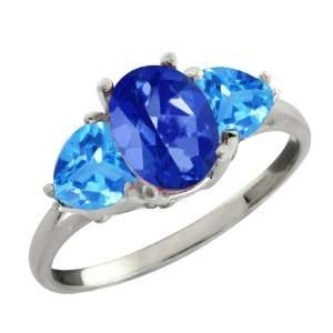 Sapphire Blue Mystic Topaz and Topaz Sterling Silver Ring Jewelry