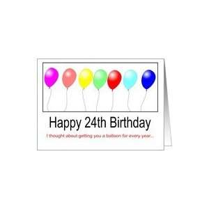Happy Birthday 24th Balloons Card Toys Games