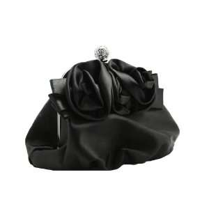 Black Satin Sophisticated Clutch Evening Purse with High