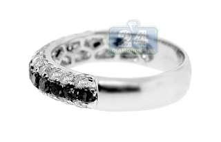 14K White Gold 1.43 ct Black & White Diamond Womens Wedding Band Ring