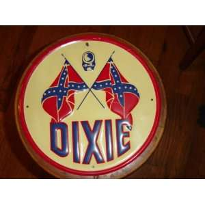 Reproduction Dixie and Rebel Flag Round Metal Sign: Patio