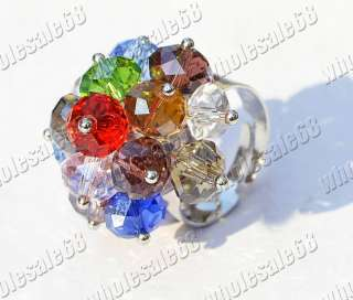 Wholesale lot 50ps silver plated crystal bead ring FREE