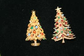 RHINESTONE CHRISTMAS TREE PIN BROOCH LOT SIGNED ART LOOK