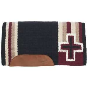 Brookside Cross Wool Pad   36 x 34 Black/Burgundy