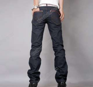Japanese Classic Straight Denim Jeans Trousers Dark Blue 29 36