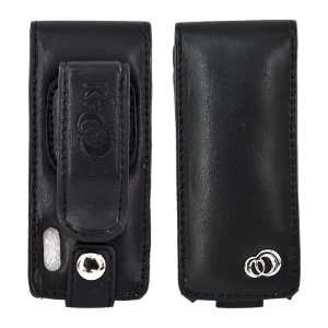 for iPod Nano 5 Flip Case Belt Clip Pouch BLACK LEATHER