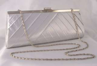 SILVER METALLIC SATIN RHINESTONE EVENING BAG CLUTCH PURSE Bridal