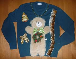 MENS Womens Ugly CHRISTMAS Sweater Contest Size Sm Med Large Moose
