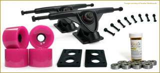 Skateboard TRUCKS COMBO set w/ 70mm PINK WHEELS + 9.675 Black trucks