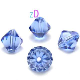 M2110 15pcs Faceted Blue Crystal Glass Bicone Bead 10mm