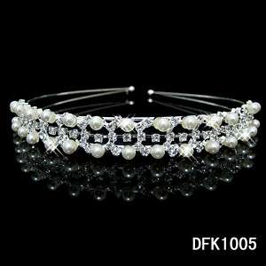 Bridal Pearl Crystal Pageant tiara crown Headband FK1005