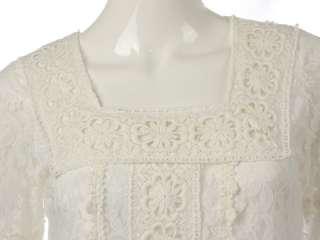 GORGEOUS SQUARE NECK CROCHET LACE DRESS WHITE S