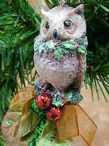 Great Horned Owl Bird Christmas Holly Berry Ornament