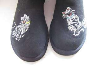 UGG TALL BLACK CLASSIC BOOTS CUSTOM APPLIQUE KITTY CAT