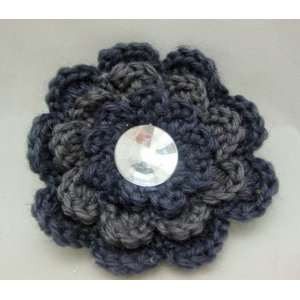 Knit Grey Flower Hair Clip PIn and Pony Tail Holder