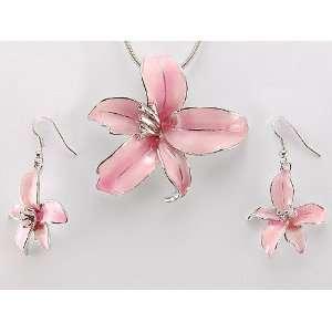 Enamel Hawaiian Tropic Island Flower Necklace Earring Set Jewelry