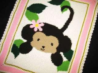 Crochet Patterns JUNGLE MONKEY BABY GIRL Afghan Pattern