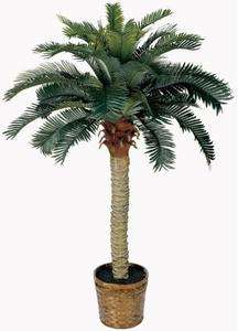 NEARLY NATURAL Artificial 4 Ft Sago Silk Palm Tree   Tropical Decor