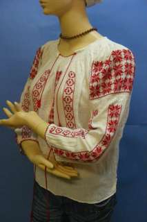 Vintage RED WHITE SILK Hand Embroidered ROMANIAN Folk Ethnic Top