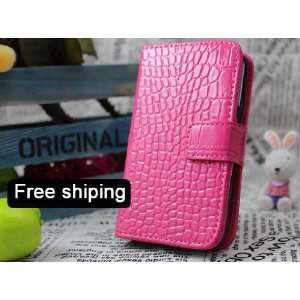 Pink Genuine Leather Flip Wallet Case Cover for the Samsung